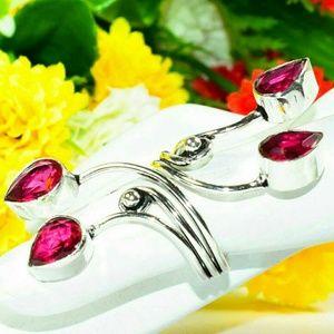 Pink Rubellite GemStone Filigree 925 Silver Ring